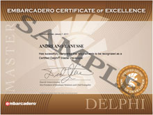 Delphi Master Developer Certificate of Excellence